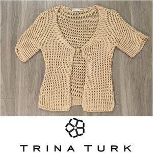[Trina Turk] Crotchet Cardigan Tan Size M